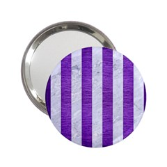 Stripes1 White Marble & Purple Brushed Metal 2 25  Handbag Mirrors by trendistuff