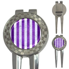 Stripes1 White Marble & Purple Brushed Metal 3 In 1 Golf Divots by trendistuff