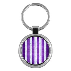 Stripes1 White Marble & Purple Brushed Metal Key Chains (round)  by trendistuff