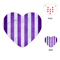 Stripes1 White Marble & Purple Brushed Metal Playing Cards (heart)  by trendistuff