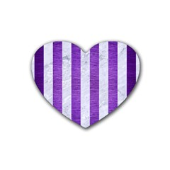 Stripes1 White Marble & Purple Brushed Metal Rubber Coaster (heart)  by trendistuff