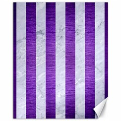 Stripes1 White Marble & Purple Brushed Metal Canvas 11  X 14   by trendistuff