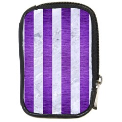 Stripes1 White Marble & Purple Brushed Metal Compact Camera Cases by trendistuff