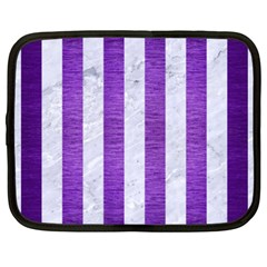 Stripes1 White Marble & Purple Brushed Metal Netbook Case (xxl)  by trendistuff