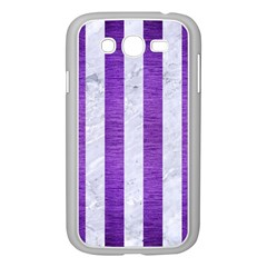 Stripes1 White Marble & Purple Brushed Metal Samsung Galaxy Grand Duos I9082 Case (white) by trendistuff