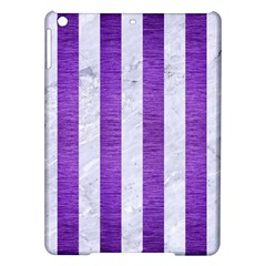 Stripes1 White Marble & Purple Brushed Metal Ipad Air Hardshell Cases by trendistuff