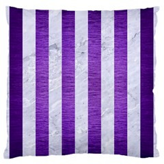 Stripes1 White Marble & Purple Brushed Metal Standard Flano Cushion Case (two Sides) by trendistuff