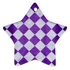 Square2 White Marble & Purple Brushed Metal Ornament (star) by trendistuff