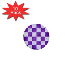 Square1 White Marble & Purple Brushed Metal 1  Mini Buttons (10 Pack)  by trendistuff