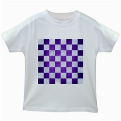 Square1 White Marble & Purple Brushed Metal Kids White T Shirts by trendistuff