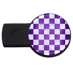 Square1 White Marble & Purple Brushed Metal Usb Flash Drive Round (2 Gb) by trendistuff