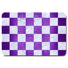 Square1 White Marble & Purple Brushed Metal Large Doormat  by trendistuff