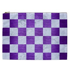 Square1 White Marble & Purple Brushed Metal Cosmetic Bag (xxl)  by trendistuff