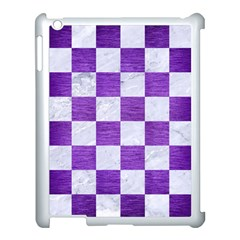 Square1 White Marble & Purple Brushed Metal Apple Ipad 3/4 Case (white) by trendistuff