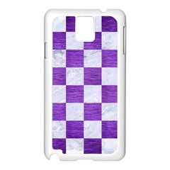 Square1 White Marble & Purple Brushed Metal Samsung Galaxy Note 3 N9005 Case (white) by trendistuff