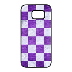 Square1 White Marble & Purple Brushed Metal Samsung Galaxy S7 Edge Black Seamless Case by trendistuff