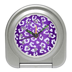 Skin5 White Marble & Purple Brushed Metal (r) Travel Alarm Clocks by trendistuff