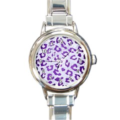 Skin5 White Marble & Purple Brushed Metal Round Italian Charm Watch by trendistuff