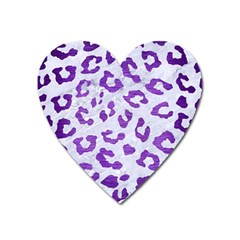 Skin5 White Marble & Purple Brushed Metal Heart Magnet