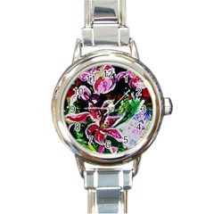 Lilac And Lillies 3 Round Italian Charm Watch by bestdesignintheworld