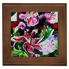 Lilac And Lillies 3 Framed Tiles by bestdesignintheworld