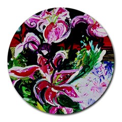 Lilac And Lillies 3 Round Mousepads by bestdesignintheworld