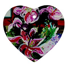 Lilac And Lillies 3 Ornament (heart) by bestdesignintheworld