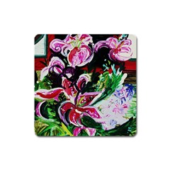 Lilac And Lillies 3 Square Magnet by bestdesignintheworld