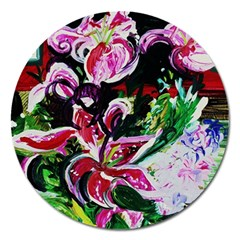 Lilac And Lillies 3 Magnet 5  (round) by bestdesignintheworld
