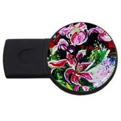 Lilac And Lillies 3 Usb Flash Drive Round (4 Gb) by bestdesignintheworld