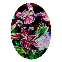 Lilac And Lillies 3 Oval Ornament (two Sides) by bestdesignintheworld