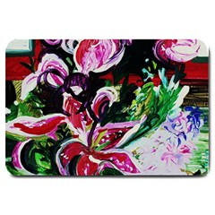 Lilac And Lillies 3 Large Doormat  by bestdesignintheworld