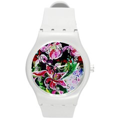Lilac And Lillies 3 Round Plastic Sport Watch (m) by bestdesignintheworld