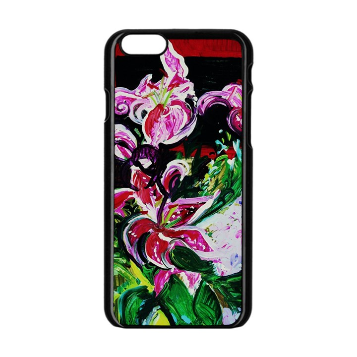Lilac And Lillies 3 Apple iPhone 6/6S Black Enamel Case