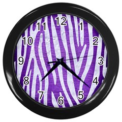 Skin4 White Marble & Purple Brushed Metal (r) Wall Clocks (black) by trendistuff