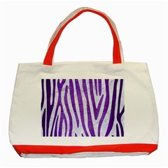 Skin4 White Marble & Purple Brushed Metal Classic Tote Bag (red) by trendistuff