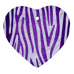 Skin4 White Marble & Purple Brushed Metal Heart Ornament (two Sides) by trendistuff