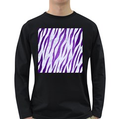 Skin3 White Marble & Purple Brushed Metal (r) Long Sleeve Dark T Shirts
