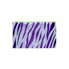 Skin3 White Marble & Purple Brushed Metal (r) Cosmetic Bag (xs)