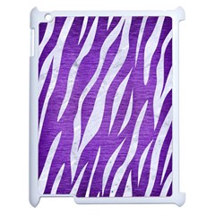 Skin3 White Marble & Purple Brushed Metal Apple Ipad 2 Case (white) by trendistuff