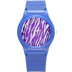Skin3 White Marble & Purple Brushed Metal Round Plastic Sport Watch (s) by trendistuff