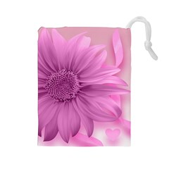 Flower Design Romantic Drawstring Pouches (large)