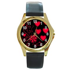 Background Hearts Ornament Romantic Round Gold Metal Watch by Sapixe