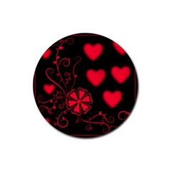 Background Hearts Ornament Romantic Rubber Coaster (round)  by Sapixe