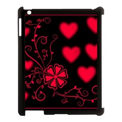 Background Hearts Ornament Romantic Apple Ipad 3/4 Case (black) by Sapixe