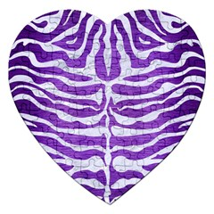 Skin2 White Marble & Purple Brushed Metal Jigsaw Puzzle (heart) by trendistuff