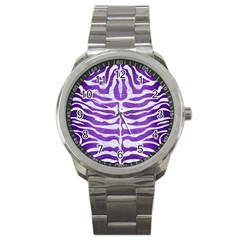 Skin2 White Marble & Purple Brushed Metal Sport Metal Watch
