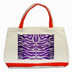 Skin2 White Marble & Purple Brushed Metal Classic Tote Bag (red) by trendistuff