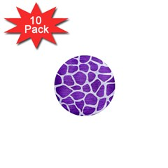 Skin1 White Marble & Purple Brushed Metal (r) 1  Mini Magnet (10 Pack)  by trendistuff