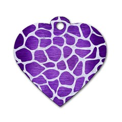Skin1 White Marble & Purple Brushed Metal (r) Dog Tag Heart (one Side) by trendistuff